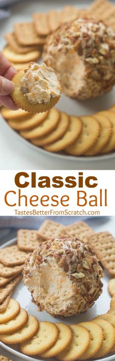 We LOVE this Classic Cheese Ball recipe made with real cheddar cheese, cream cheese, green onion and coated in chopped pecans. The BEST easy holiday appetizer that everyone loves! | Tastes Better From Scratch