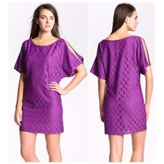 Aidan Mattox Dot Lace cold shoulder purple dress Dot lace, circle webbing  Cold shoulder split sleeve  Purple   New with tags   Size 12  Retail $168 Aidan Mattox Dresses