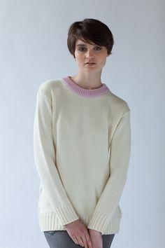 'Chester Jumper' in Winter White. Australian made knitwear from Jude http://www.judeaustralia.com/shop/ #wool #merino #AustralianMade #JudeAustralia #jumper #winter
