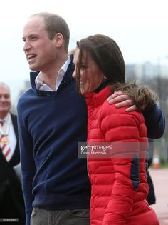 Catherine, Duchess of Cambridge and Prince William, Duke of Cambridge hug during a training day for the Heads Together team for the London Marathon at Olympic Park on February 5, 2017 in London, England.  (Photo by Danny Martindale/WireImage)
