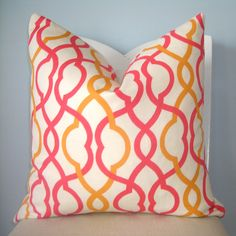 girls room.  Coral and Orange Trellis Geometric Pillow Cover 20 x 20