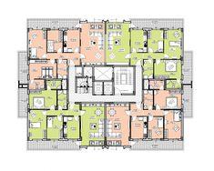 Risultati immagini per katta 4 daire planı Interior Architecture Drawing, Office Building Architecture, Architecture Plan, Apartment Projects, Apartment Plans, Hotel Floor Plan, House Floor Plans, Building Plans, Building Design
