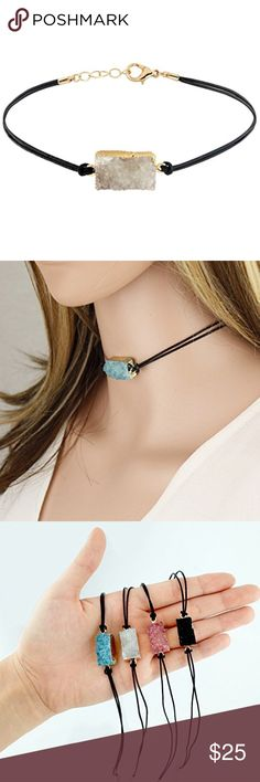 White Druzy and Leather Choker Genuine Druzy Stone and Leather Cord Length: 12 Inch / Extendable up to 15 Inch Measurement of Pendant Due to the nature of the product, the shape, color or texture may vary. Jewelry Necklaces