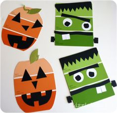 A simple and great idea to utilize leftover paint chips. Create Halloween decorations, via LizzieJane Baby: Paint Chip Halloween Craft #happyhalloween #pumpkin #frankenstein #party #decor #decoration #kids #children #prek #preschool #toddler #kindergarten #diy #recyle #paintchip #craft #activity