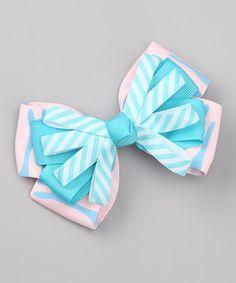 Look at this #zulilyfind! Picki Nicki Hair Bowtique Pink & Blue Stripe Bow Tie Clip by Picki Nicki Hair Bowtique #zulilyfinds