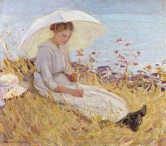 Helen McNicoll, Girl with Parasol, c. 1913, oil on canvas, 40.6 x 45.7 cm, private collection, Vancouver. #ArtCanInstitute #CanadianArt
