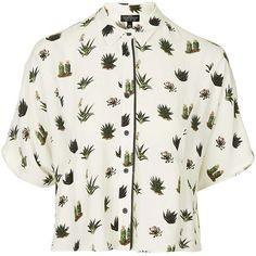 TopShop Tall Cactus Pyjama Shirt (£39) ❤ liked on Polyvore featuring tops, shirts, blusas, viscose shirts, topshop, white shirt, rayon tops and white tops