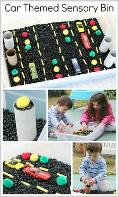 Car Themed Sensory Bin~ Buggy and Buddy...could also include cardboard roads and our traffic signs...