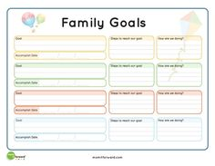 8 Best Images of Goal Setting Printables - Printable Goal Setting Worksheet, Family Goals Worksheet Printable and Printable Goal Setting Family Mission Statements, Family Rules, Family Goals, Family Life, Family Therapy Activities, Counseling Activities, Goals Worksheet, Family Planner, Life Planner