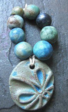 Handmade Ceramic Beads & Dragonfly Pendant Charm Set by Grubbi, $14.00