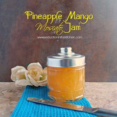 #SundaySupper Pineapple Mango Moscato Jam Recipe with pineapple, mango, lemon juice, sugar, wine