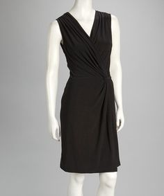 Take a look at this Black Surplice Dress by Quiz on #zulily today!
