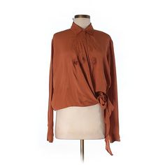 Pre-owned ASOS Long Sleeve Blouse ($23) ❤ liked on Polyvore featuring tops, blouses, orange, asos, asos blouse, brown tops, asos tops and brown blouse