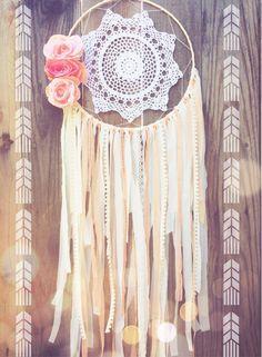 Coral & Cream Lace Floral Crochet Doily Boho Shabby Chic Gypsy Dreamcatcher // Baby Nursery Decor // Wedding Decor by Unicorns4Evaa