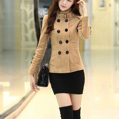 Fashion Double-breasted Solid Color Stand Collar Woolen Coat