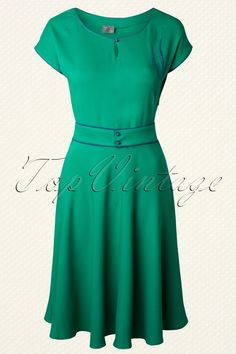 Wow To Go! - 60s Feathers A-line Dress in Green