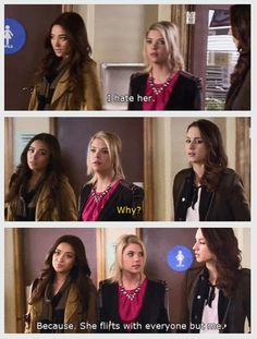 Hanna hates Shanna because she flirts with everyone else but her. Pretty Little Liars! Pretty Little Liars Hanna, Pretty Little Liars Quotes, Little Things Quotes, The Best Series Ever, Best Shows Ever, Hanna Marin Quotes, Liar Liar, Holly Marie Combs, American Teen