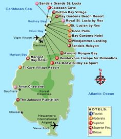 map of st lucia resorts in castries | St Lucia Vacations: St Lucia stays, hotel accommodations, pictures ...