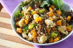 Lentil and Roasted Cauliflower Salad by Eat Spin Run Repeat