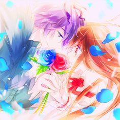 Colorful anime couple