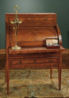 """""""For the Love of the Ladies"""" - October 1-2, 2016 in Phoenix, AZ: 174 English Hepplewhite Writing Desk with Roll-Top Style"""
