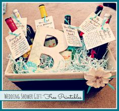 Wedding shower gift!  A bottle of wine to open as you plan your wedding!  Free printable tags.