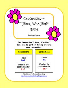 "Contraction - ""I Have, Who Has?"" Game from Mrs. Navarres Shop on TeachersNotebook.com -  (10 pages)  - Contraction - ""I Have, Who Has?"" Game"