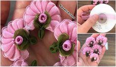 YAZMALARA VE HAVLULARA TÜLDEN OYA ÇİÇEKLERİ YAPIMI Ribbon, Rose, Floral, Flowers, Jewelry, Youtube, Beautiful Things, Hand Embroidery, Amigurumi