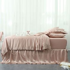 Absolutely Everybody Is Talking About Light Pink Silk Duvet Cover and What You Must Do - homesdecoring Woman Bedroom, Bedroom Bed, Bedroom Decor, Best Bedding Sets, Comforter Sets, Duvet, Silk Sheets, Silk Bedding, Bed Linen Design