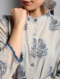Buy Ivory-Indigo Dabu-printed Cotton Kurta with Lace Detail Online at Jaypore.com Punjabi Suit Neck Designs, Kurta Neck Design, Neck Designs For Suits, Pakistani Dress Design, Lengha Blouse Designs, Kurta Designs, Embroidery Neck Designs, Embroidery Suits Design, Indigo Dress