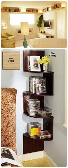8 Best Small Space Shelving Solutions - I love the corner shelves! No Closet Solutions, Shelving Solutions, Shelving Ideas, Small Space Living, Small Spaces, Mini Loft, Corner Shelves, Small Apartments, Home Organization