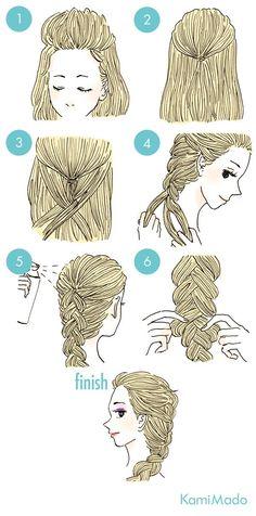 Tutorial de cabelos no estilo Elsa de Frozen. Efeito lindo e perfeito para cabelos longos.