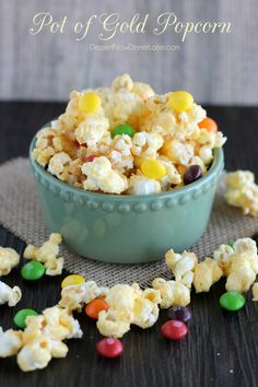 Pot of Gold Popcorn - candied popcorn with rainbow skittles. Perfect for St. Patrick's Day!