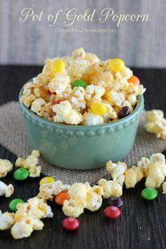 Pot of Gold Popcorn - Jello candied popcorn with bursts of rainbow skittles. | DessertNowDinnerLater.com #stpatricksday #popcorn