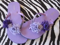 Love Purple Bling Flip Flops
