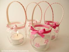 Lanterns from yoghurt pots Jar Crafts, Diy And Crafts, Crafts For Kids, Pot Mason Diy, Mason Jars, Style Shabby Chic, Baby Food Jars, Bottle Bag, Mom Day
