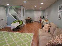 Playroom/Basement, Playroom for twin 7 year olds (girl and boy)-   Created separate spaces (Sleeper Sofa); Play Area;  Wii Area; Toy Closet; Craft Table with Craft Closet; Computer Area;  Snack Cart....   , Other Spaces Design