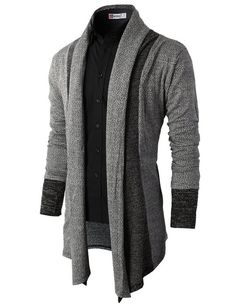 H2H Mens Casual Knit Cardigan with Double Shawl Collar GRAY Asia 3XL (KMOCAL012)