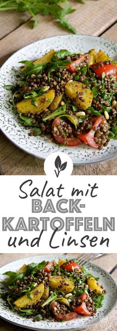 Salat Backkartoffeln Linsen Vegan