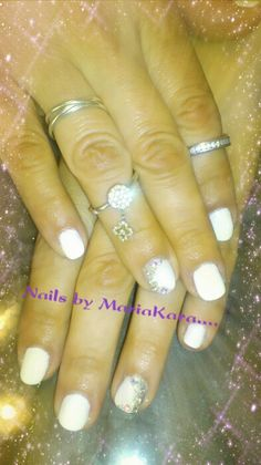 White nails with swarovski  #nails