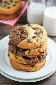 Thick and Chewy Chocolate Chip Brownie Swirl Cookies (aka Brookies) - the best of both worlds!