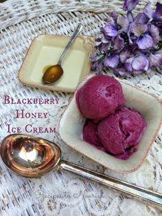 Blackberry Honey Ice Cream - Recipes to Nourish Frozen Desserts, Frozen Treats, Just Desserts, Healthy Desserts, Delicious Desserts, Paleo Dessert, Gluten Free Desserts, Dessert Recipes, Paleo Treats