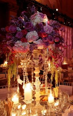 "david tutera ""exquisite wedding"" love the candelabra with crystals."