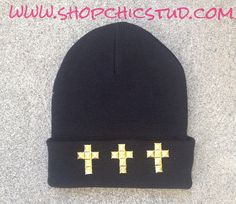 Studded Beanie Black Hat CHOOSE Stud Color with by ShopChicStud