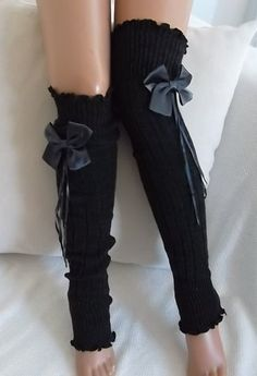 Charcoal Grey - Grey Ribbon Bow - Leg Warmers -Boot Socks Knit leg warmers -Women's Leg warmers - Winter leg warmers -Christmas Gift by Emine Özbek Grey Ribbon, Ribbon Bows, Ariana Grande, Lingerie Design, Fashion Design Inspiration, Bow Legged, Fluffy Socks, Knit Leg Warmers, Leg Warmers Outfit