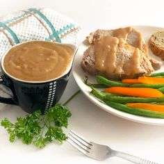 How To Make Pork Gravy Homemade In 10 Minutes Or Less Learn how to make a homemade pork loin roast gravy from the pan drippings in ten minutes or less. Fast and delicious, you'll love this easy pork gravy. Gravy Recipe No Drippings, Pork Gravy Recipe, Pork Tenderloin Gravy Recipe, Pork Recipes, Cooking Recipes, Cooking Ideas, Protein Recipes, Crockpot Recipes, Recipies
