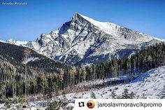 Symbol of Slovakia - Krivan peak in High Tatras mountains  #praveslovenske od @jaroslavmoravcikpromo #slovakia #slovensko #landscape #hightatras #tatry #tatramountains #rocks #peak #mountains #hills #winter #snow #forest #trees #nature #landscape