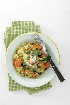 Fregola aux légumes grillés et au filet de sole