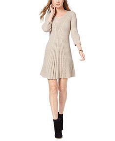 e9d178d3672 NY Collection Women s Petite V-Neck Cable-Knit Sweater Dress (Lorelle