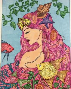Coloring by Jane Adam. Coloring Book Goddess by Alena Lazareva. Available on Amazon. #alenalazareva #coloring #colouring #book #coloringbook #coloringbookforadult #adultcoloring #colorist #adultcoloringbook #colouringbook #goddess #mermaidcoloring #fairycoloring